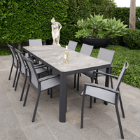 9PCE Roma Ceramic Dining Setting - Cozy Indoor Outdoor Furniture