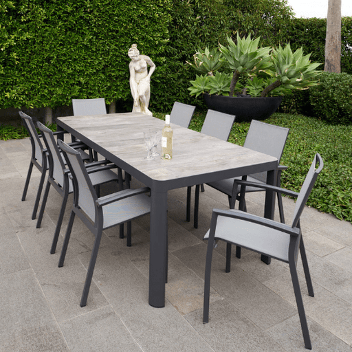 9PCE Roma Aluminium Ceramic Dining Setting Outdoor Furniture Cozy Furniture