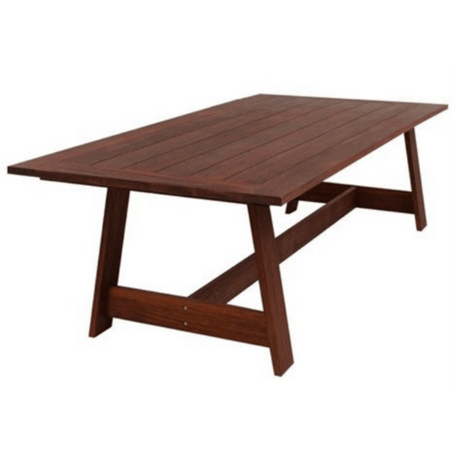 Salerno outdoor dining table cozy furniture merbau timber hardwood