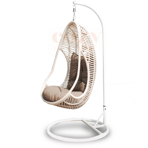 hanging egg chair chocolate colour cozy furniture