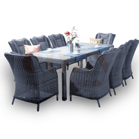 9PCE San Jose Wicker Dining Setting - Cozy Indoor Outdoor Furniture