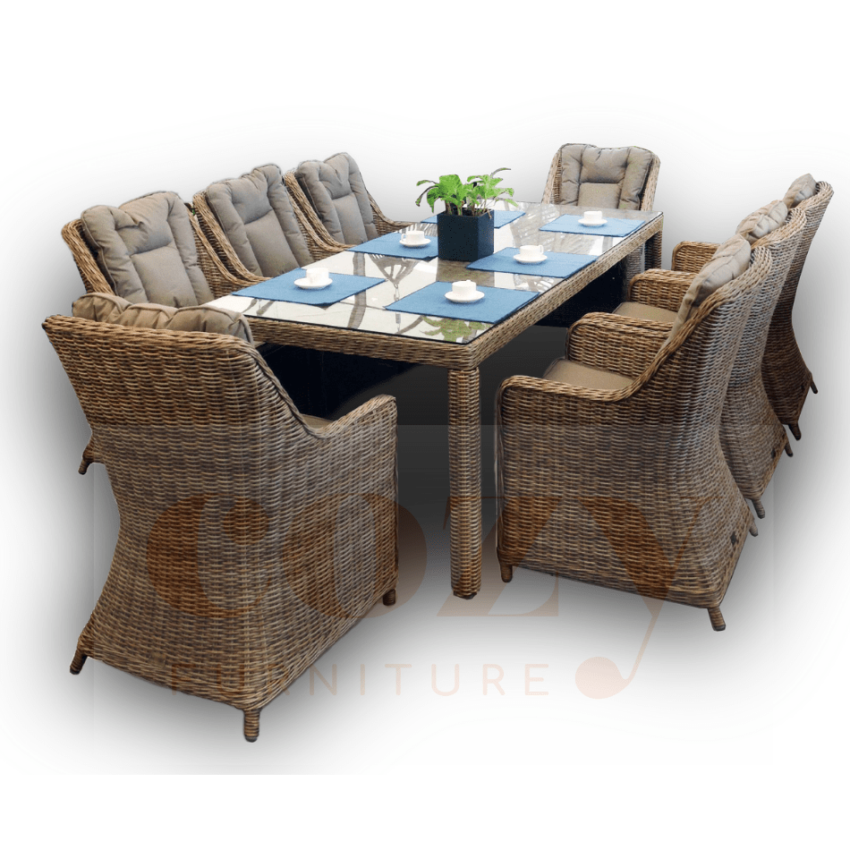 9PCE Bombay Wicker Dining Setting - Cozy Indoor Outdoor Furniture