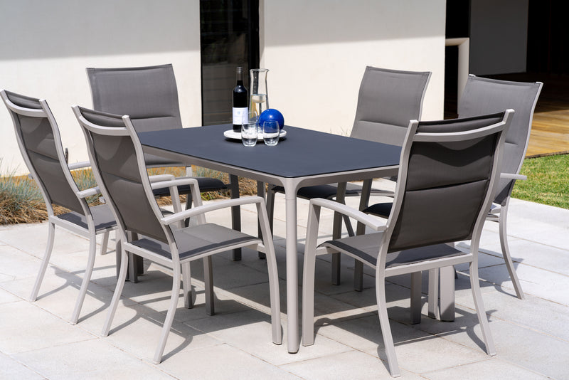 Milan and Pesaro Aluminium Dining Setting - Cozy Indoor Outdoor Furniture