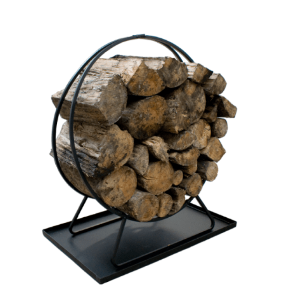 Wood Ring Timber Rack With Pan - Cozy Furniture