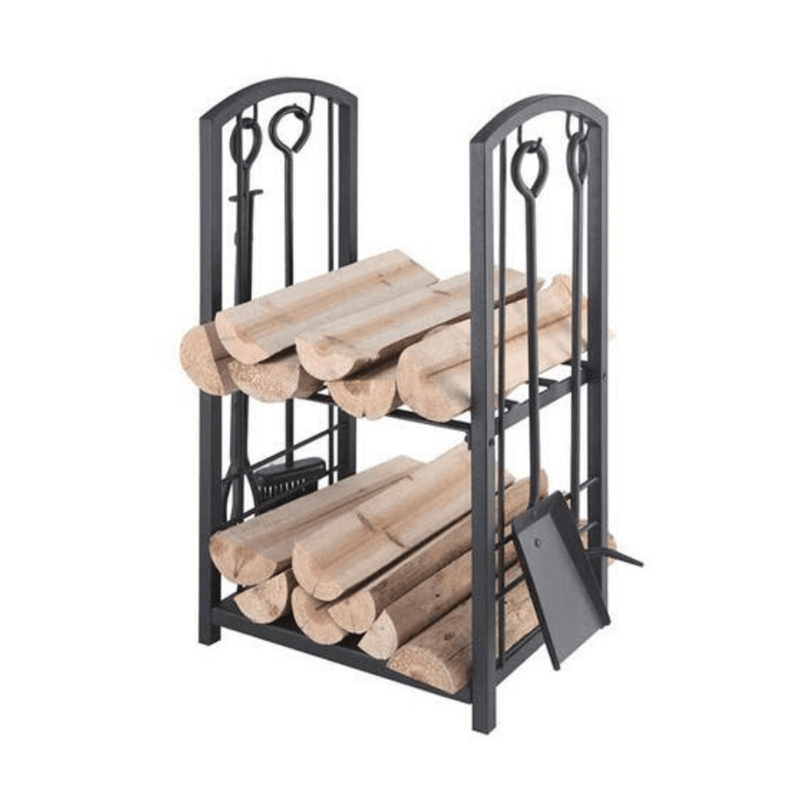 Two Tier Wood Fire Rack With Tools - Cozy Furniture