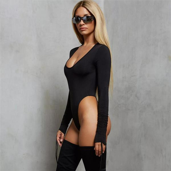 Drawstring Sleeve Bodysuit - Black