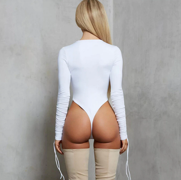 Drawstring Sleeve Bodysuit - White
