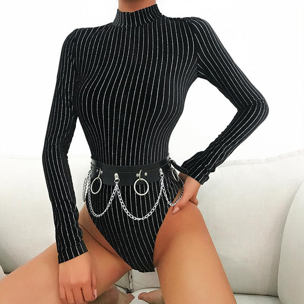 Striped Long Sleeve Bodysuit - Black