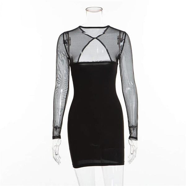 Mesh Keyhole Dress - Black