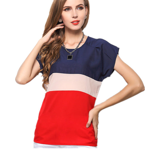 Women Casual Chiffon Patchwork t-Shirt