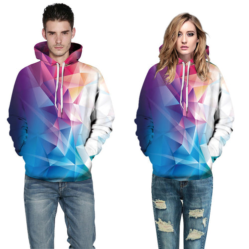 Fashion 3d Hooded sweatshirt Colorful triangle combination print