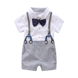 Boys Overall Suit White Romper Shirt Toddler Gentleman Outfit