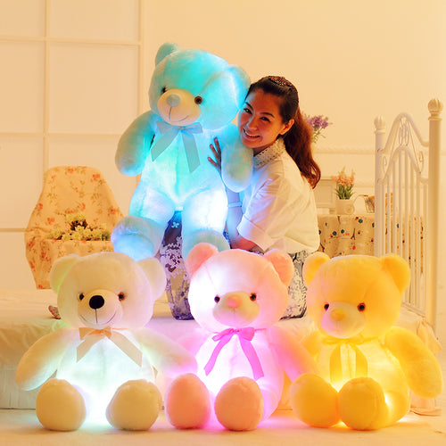 Creative Light Up LED Teddy Bear Christmas Gift for Kids Pillow Toy