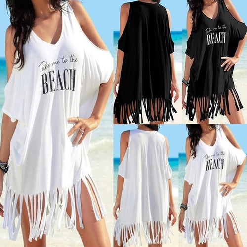 New Style Womens Tassel Letters Print Baggy