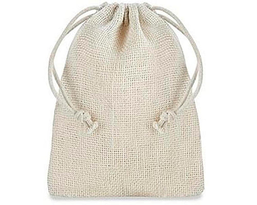 "Burlap Bags with Drawstring - 4 x 6"", Ivory"