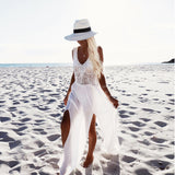 Sleeveless Hollow Split Maxi Dress Cover up