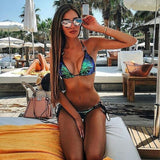 Women Beach Bandage Push Up Bikini Set Summer Swimwear Sequin Triangle Bra Sequins