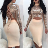 2Pcs/Set Women Sexy Sequins Bandage Turtleneck Crop Top High Waist Midi Skirt Set Outfit Clubwear Size M (Gold)