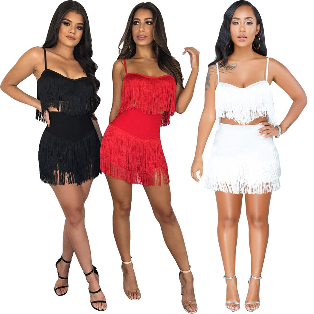 Women's Fashion Tassel Embroidery 2 Pieces Set Spaghetti Straps Crop Top + Solid Skirt