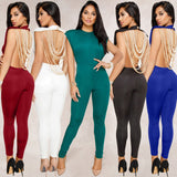 Sexy Women Pearl Chain Backless Jumpsuit O Neck Sleevelss Party Club Overalls Outfits Bodycon Rompers