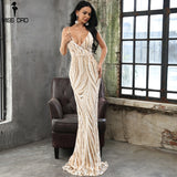 Missord 2019 Sexy Graceful V Neck Off Shoulder  Sequin Dresses Female Maxi Party  Dress Vestidos  FT8927-1