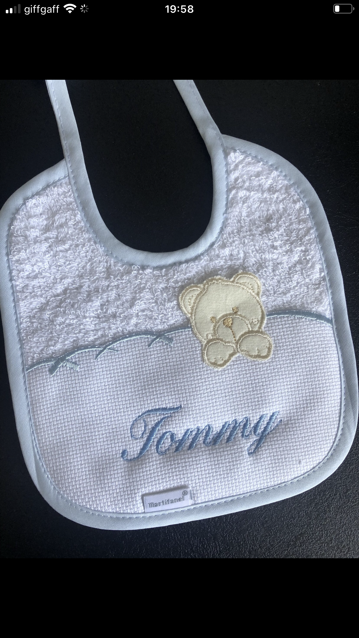 Teddy detailed bibs personalised with a small name