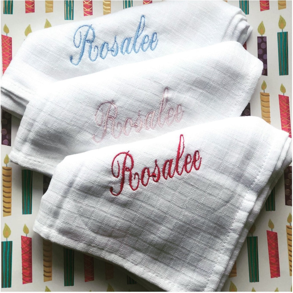 3 muslin pack personalised with the finest embroidery