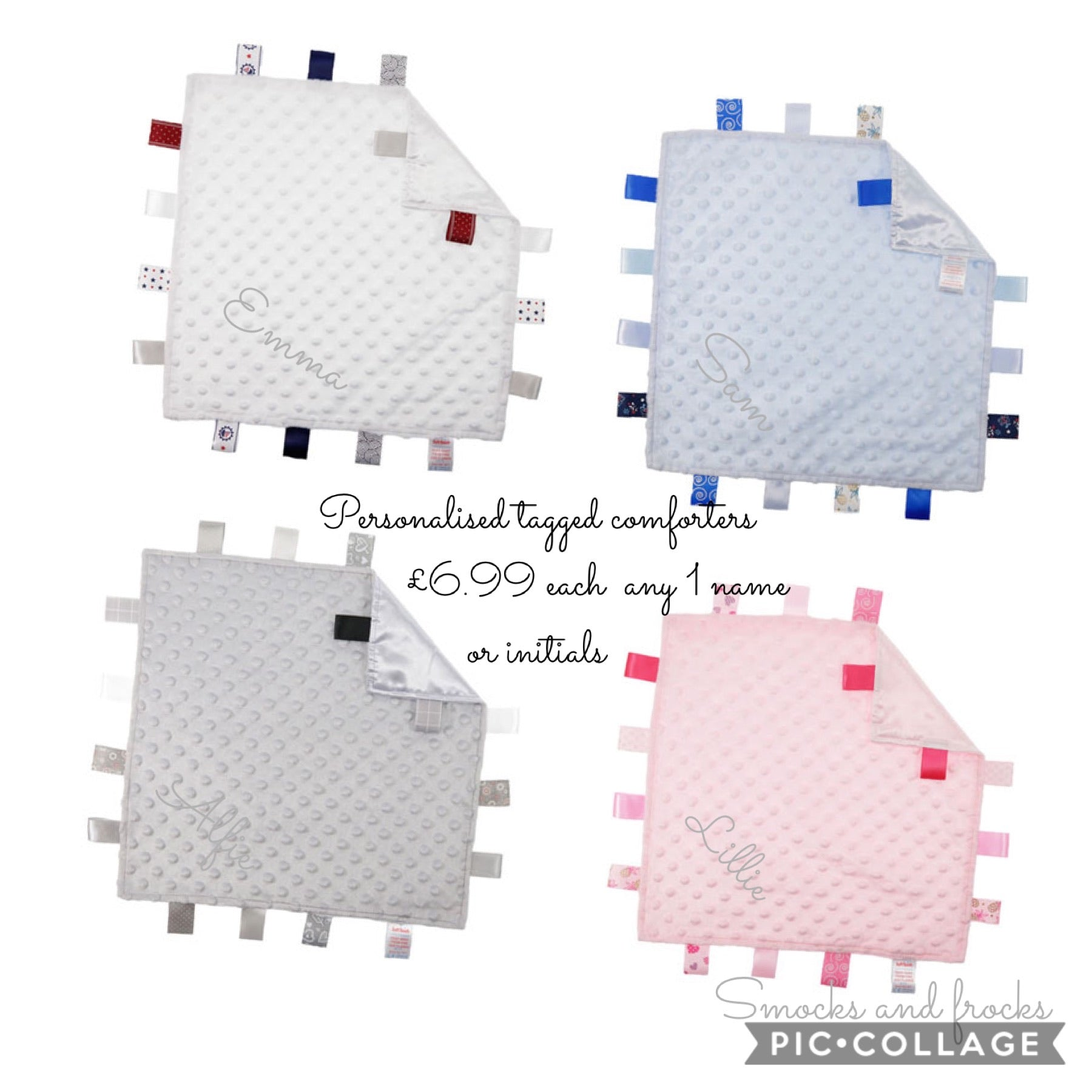 Personalised embroidered tag give comforters