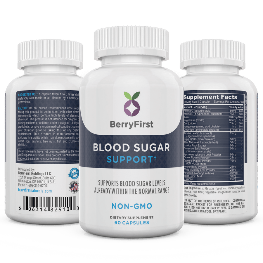 BerryFirst Blood Sugar Support 60 capsules per bottle