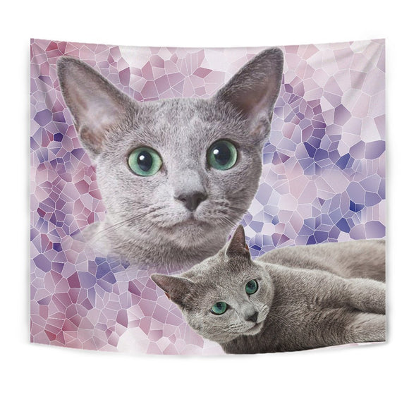 Cute Russian Blue Cat Tapestry-Free Shipping