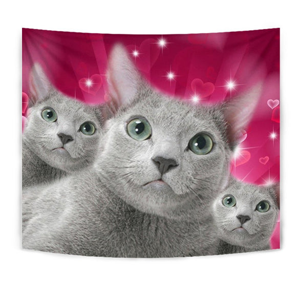 Russian Blue Cat Print Tapestry-Free Shipping