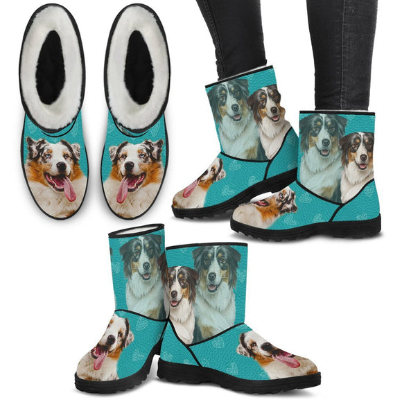 Australian Shepherd Print Faux Fur Boots For Women-Free Shipping