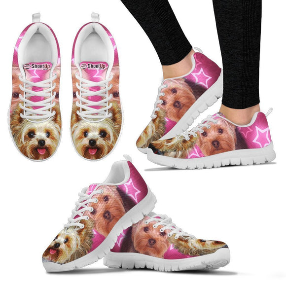 Yorkshire Terrier On Pink Print Running Shoes For Women- Free Shipping