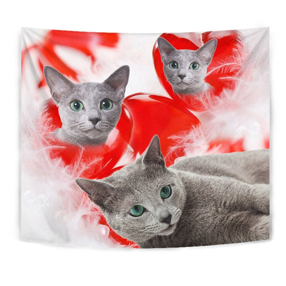 Russian Blue Cat On Red Print Tapestry-Free Shipping