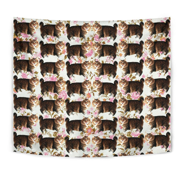 American Bobtail Cat Floral Print Tapestry-Free Shipping