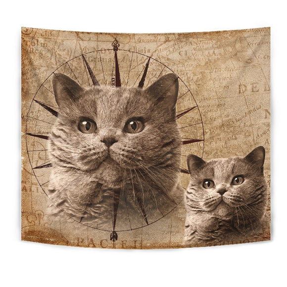 Cute British Shorthair Cat Print Tapestry-Free Shipping