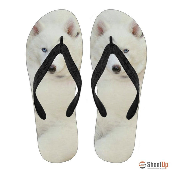 White Husky Puppy Flip Flops For Men- Free Shipping
