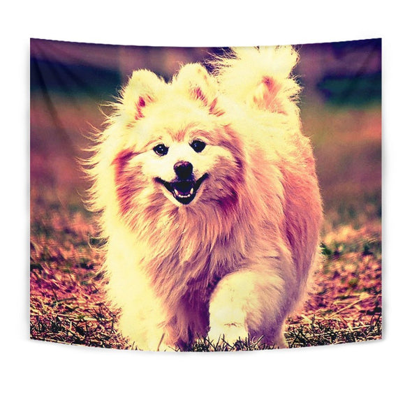 Cute Pomeranian Dog Cartoon Art Print Tapestry-Free Shipping
