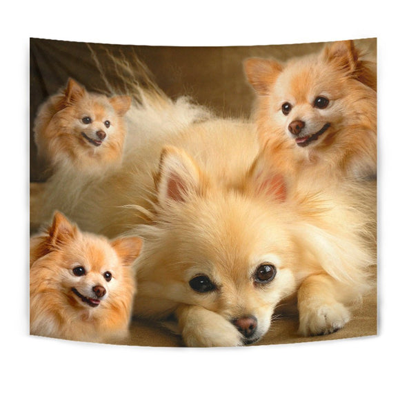 Cute Pomeranian Print Tapestry-Free Shipping