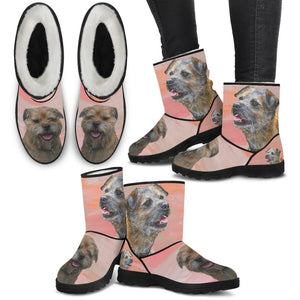 Border Terrier Print Faux Fur Boots For Women-Free Shipping