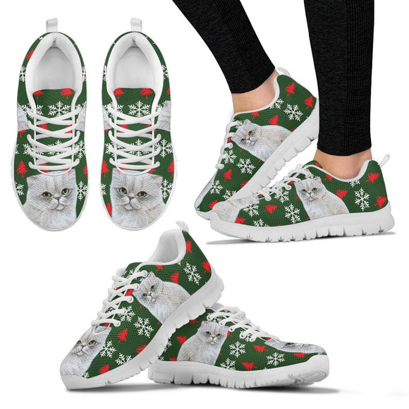 White Persian Cat Christmas Print Running Shoes For Women-Free Shipping