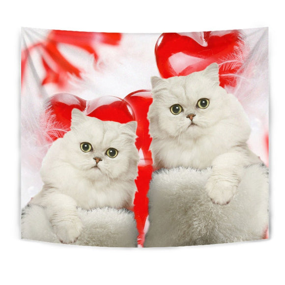 Cute Persian Cat On Red Print Tapestry-Free Shipping