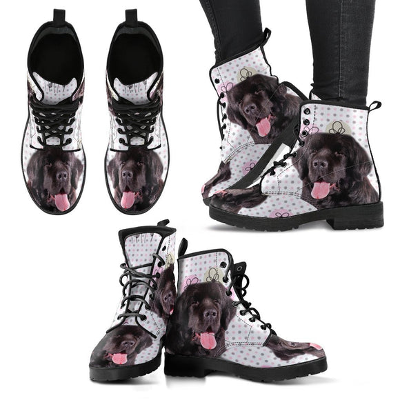 Cute Newfoundland Dog Print Boots For Women- Free Shipping