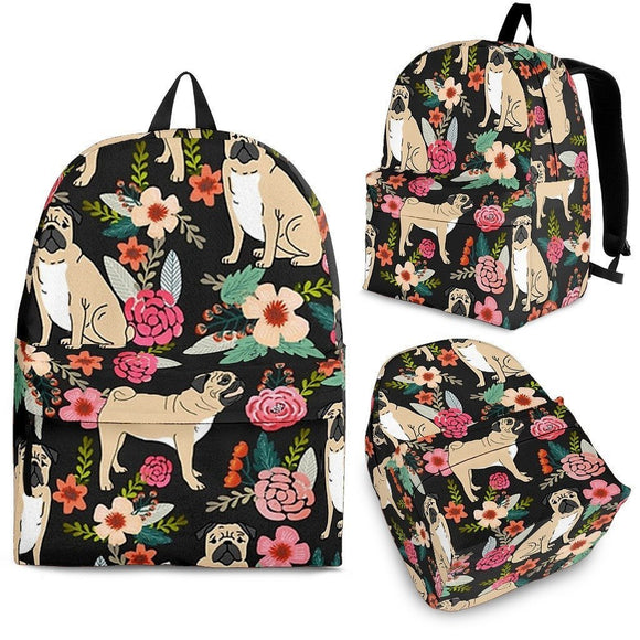 Pug Floral Print BackPack - Free Shipping