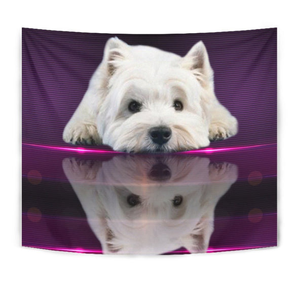 Cute West Highland White Terrier (Westie) Dog Print Tapestry-Free Shipping
