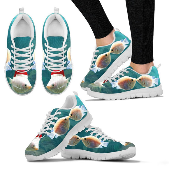 Kissing Gourami Fish Print Christmas Running Shoes For Women- Free Shipping