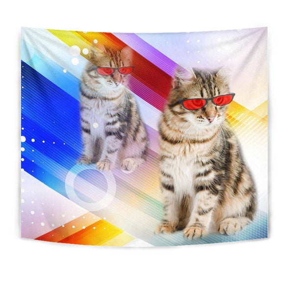 Cute Siberian Cat With Red Glasses Print Tapestry-Free Shipping