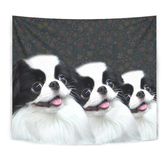 Cute Japanese Chin Dog Print Tapestry-Free Shipping