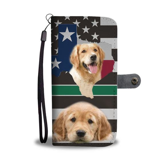 Cutest Golden Retriever Print On Black Wallet Case-Free Shipping-TX State