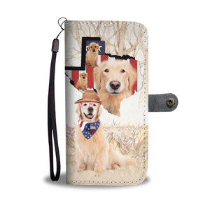Awesome Golden Retriever Print Wallet Case-Free Shipping-TX State